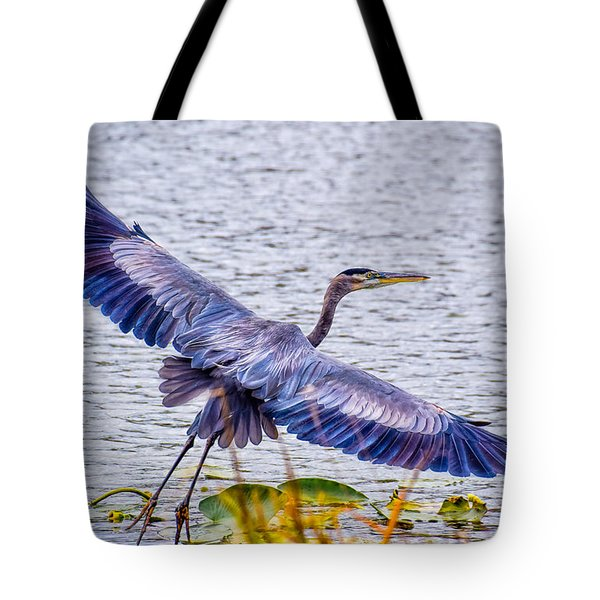 Blue Heron  Take Off  Tote Bag