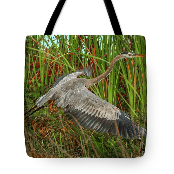 Blue Heron Take-off Tote Bag