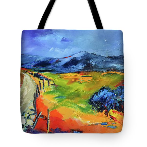 Tote Bag featuring the painting Blue Hills By Elise Palmigiani by Elise Palmigiani