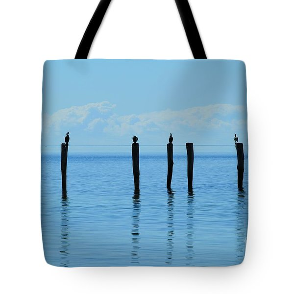 Tote Bag featuring the photograph Blue Horizon by Stephen Mitchell