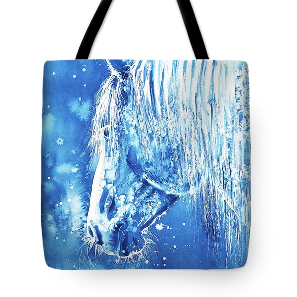 Tote Bag featuring the painting Blue Horse by Zaira Dzhaubaeva