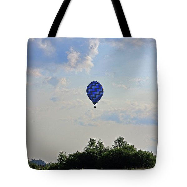 Tote Bag featuring the photograph Blue Hot Air Balloon by Angela Murdock