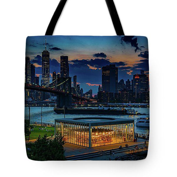 Tote Bag featuring the photograph Blue Hour At Brooklyn Bridge Park by Chris Lord