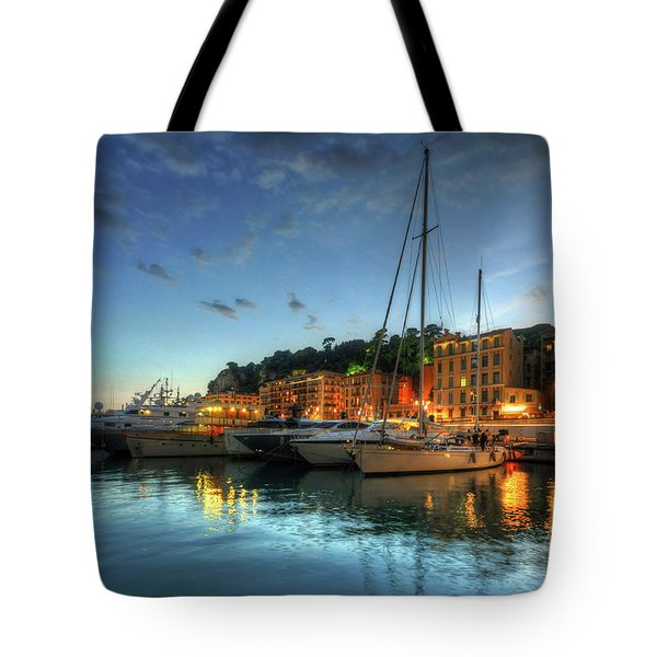 Tote Bag featuring the photograph Blue Hour At Port Nice 2.0 by Yhun Suarez