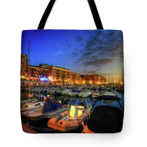 Tote Bag featuring the photograph Blue Hour At Port Nice 1.0 by Yhun Suarez