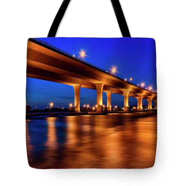 Tote Bag featuring the photograph Blue Hour At Roosevelt Bridge In Stuart Florida  by Justin Kelefas