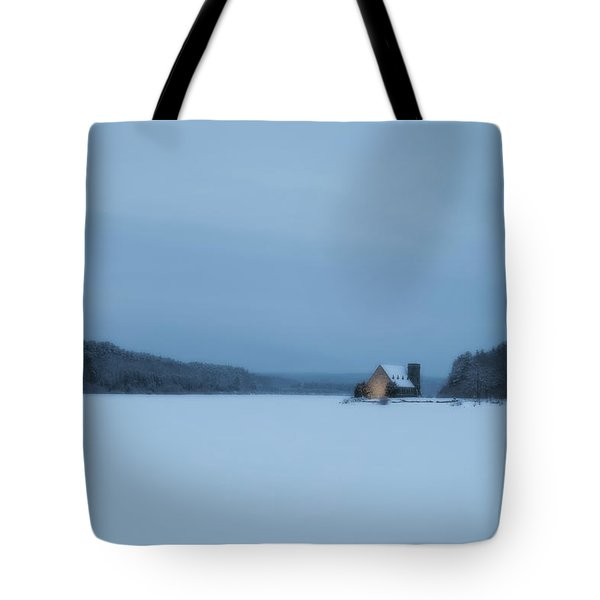 Blue Hour At The Old Stone Church Tote Bag