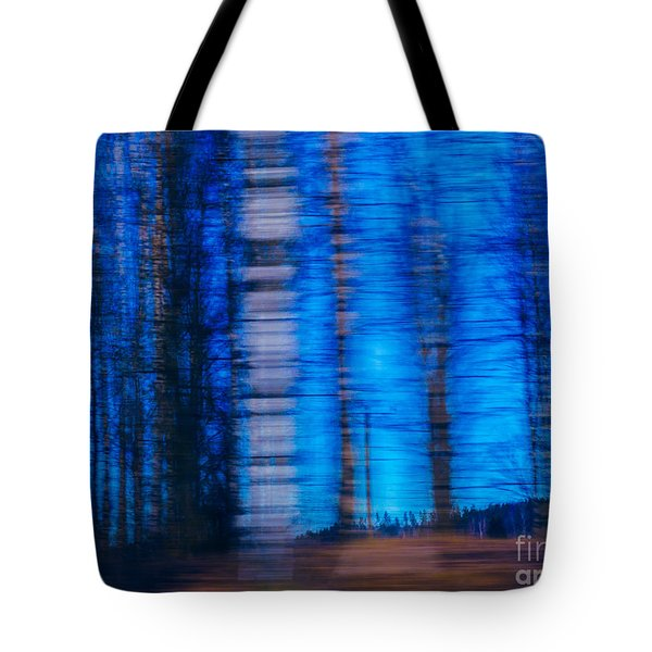 Blue Hour In Birch Forest Tote Bag