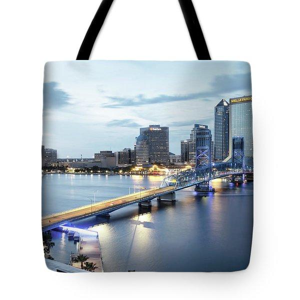 Blue Hour In Jacksonville Tote Bag