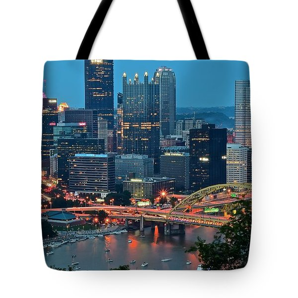 Blue Hour In Pittsburgh Tote Bag by Frozen in Time Fine Art Photography