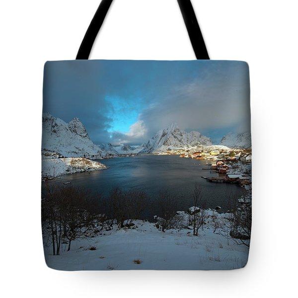 Tote Bag featuring the photograph Blue Hour Over Reine by Dubi Roman