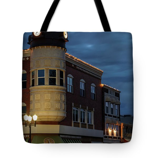 Blue Hour Over The Clock Tower Tote Bag by Tim Bryan