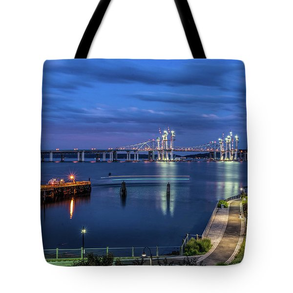 Blue Hour Over The Hudson Tote Bag by Jeffrey Friedkin