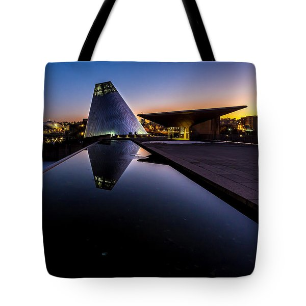 Blue Hour Reflections On Glass Tote Bag