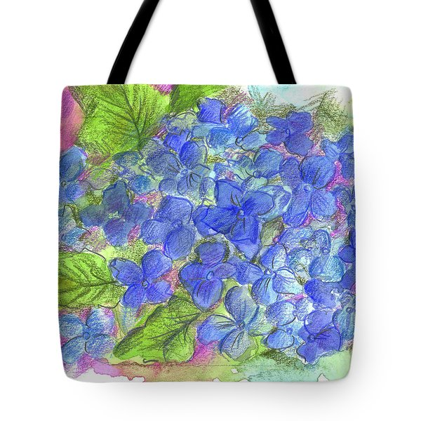Tote Bag featuring the painting Blue Hydrangea by Cathie Richardson