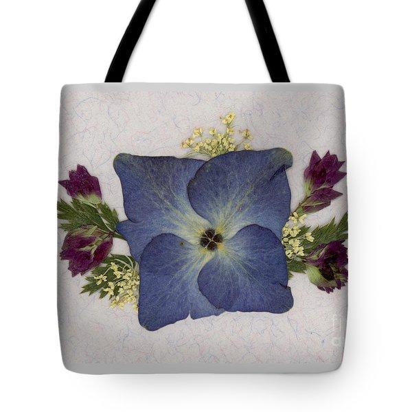 Blue Hydrangea Pressed Floral Design Tote Bag