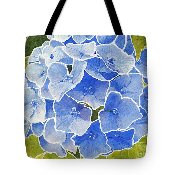 Blue Hydrangea Stained Glass Look Tote Bag