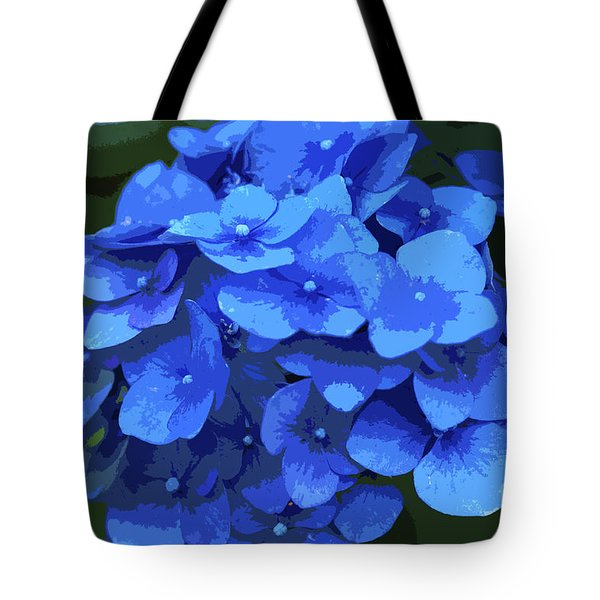 Blue Hydrangea Stylized Tote Bag by Sharon Talson