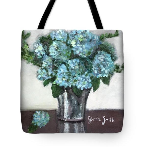 Blue Hydrangea's In Silver Vase Tote Bag