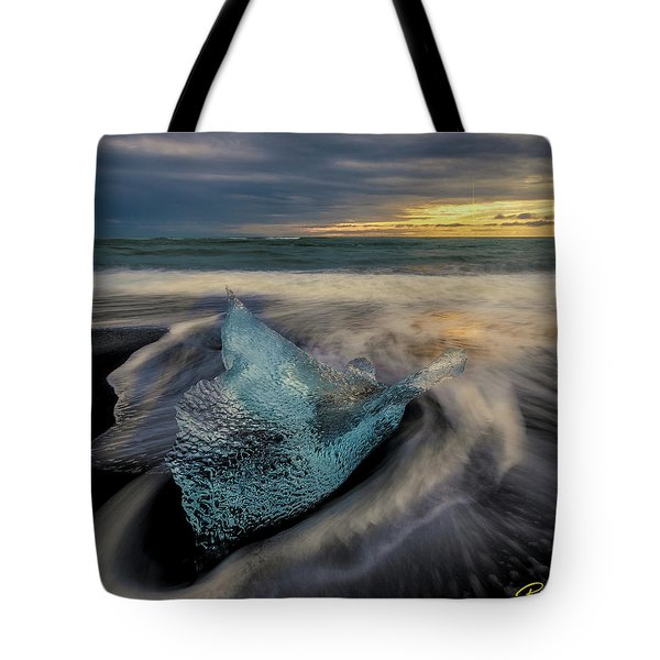 Tote Bag featuring the photograph Blue Ice Stranding by Rikk Flohr