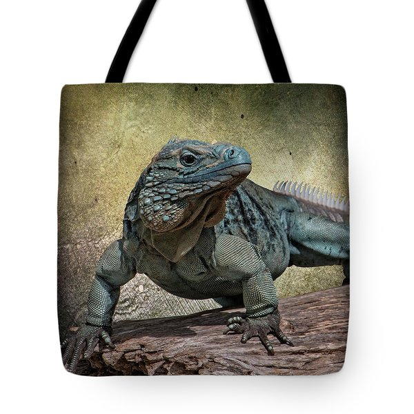 Tote Bag featuring the photograph Blue Iguana by Teresa Wilson