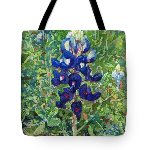 Tote Bag featuring the painting Blue In Bloom 2 by Hailey E Herrera