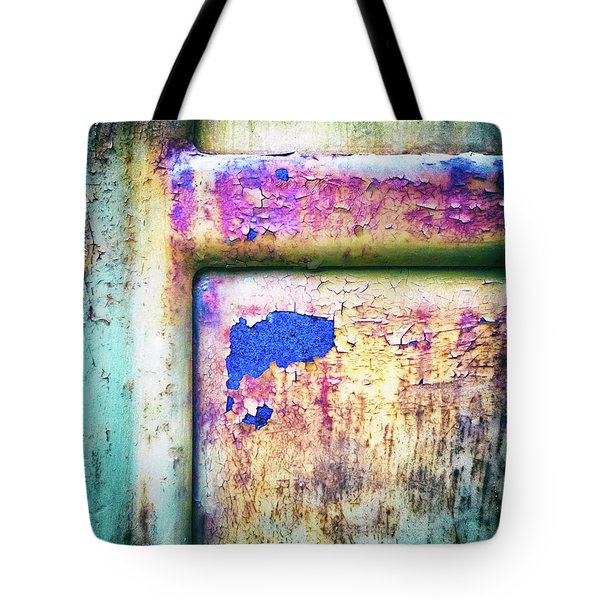 Tote Bag featuring the photograph Blue In Iron Door by Silvia Ganora