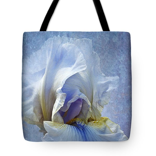 Blue Iris Fog Tote Bag by Phyllis Denton