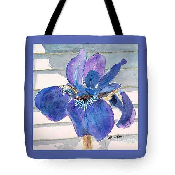 Tote Bag featuring the painting Blue Iris by LeAnne Sowa