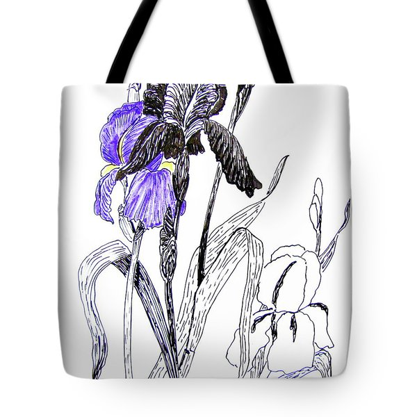 Blue Iris Tote Bag by Marilyn Smith