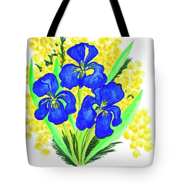 Blue Irises And Mimosa Tote Bag