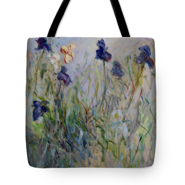 Blue Irises In The Field, Painted In The Open Air  Tote Bag by Pierre Van Dijk