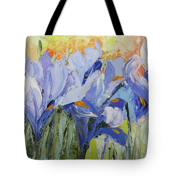 Blue Irises Palette Knife Painting Tote Bag