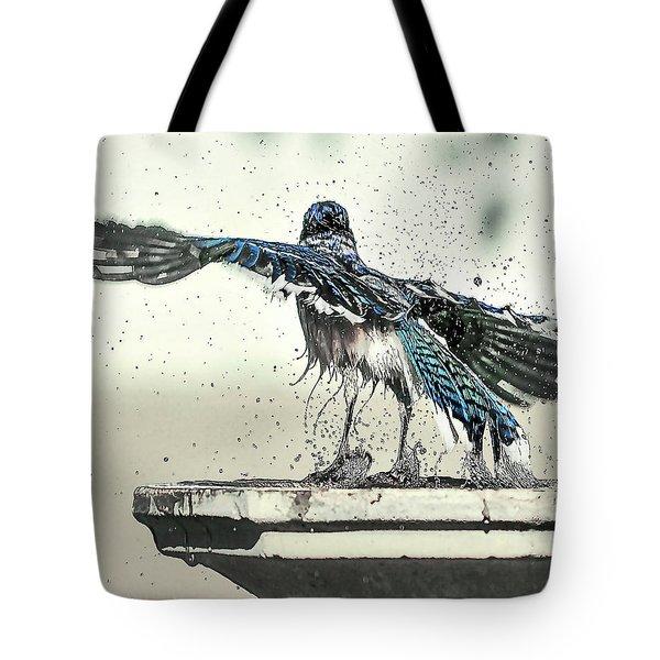 Blue Jay Bath Time Tote Bag