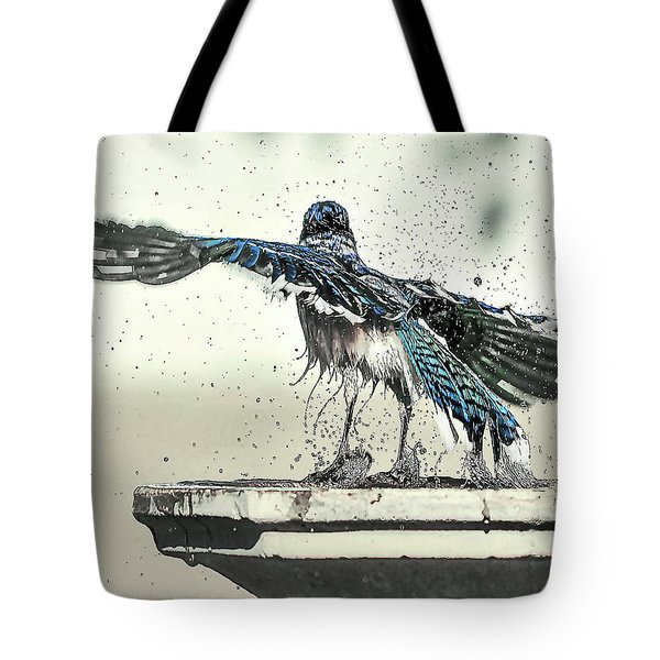Blue Jay Bath Time Tote Bag