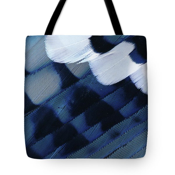 Blue Jay Cyanocitta Cristata Feathers Tote Bag by Rolf Nussbaumer