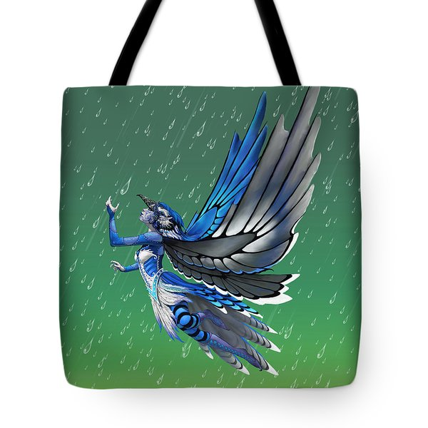 Tote Bag featuring the digital art Blue Jay Fairy by Stanley Morrison