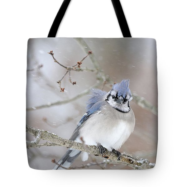 Blue Jay In A Blizzard Tote Bag
