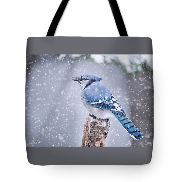 Blue Jay In Snow Storm Tote Bag
