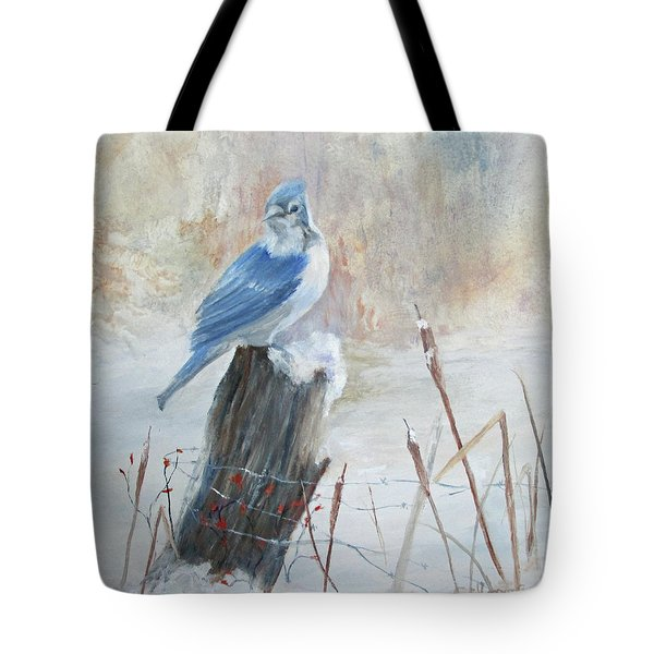 Blue Jay In Winter Tote Bag by Roseann Gilmore