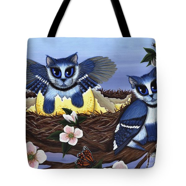 Blue Jay Kittens Tote Bag