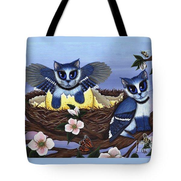 Blue Jay Kittens Tote Bag