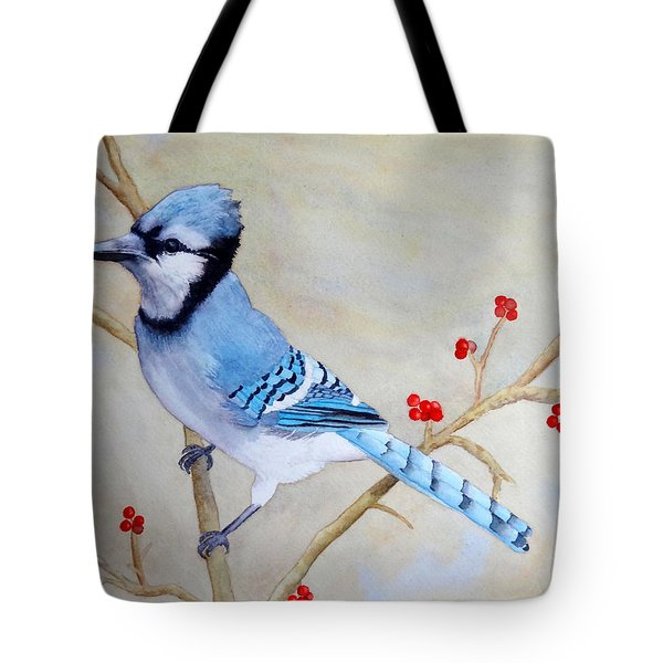 Tote Bag featuring the painting Blue Jay by Laurel Best