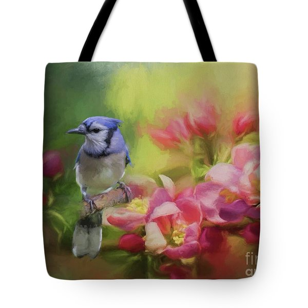 Blue Jay On A Blooming Tree Tote Bag