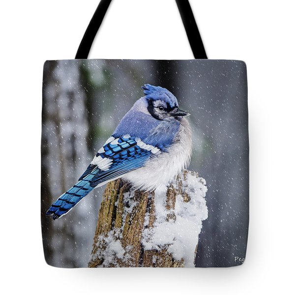 Blue Jay On Snowy Post Tote Bag