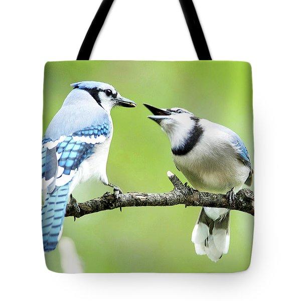 Blue Jay Parent Feeding Juvenile Tote Bag