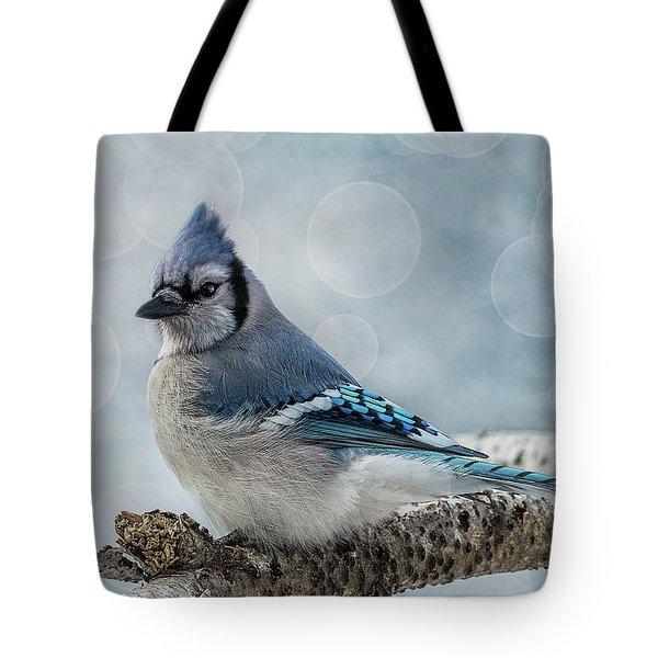 Blue Jay Perch Tote Bag