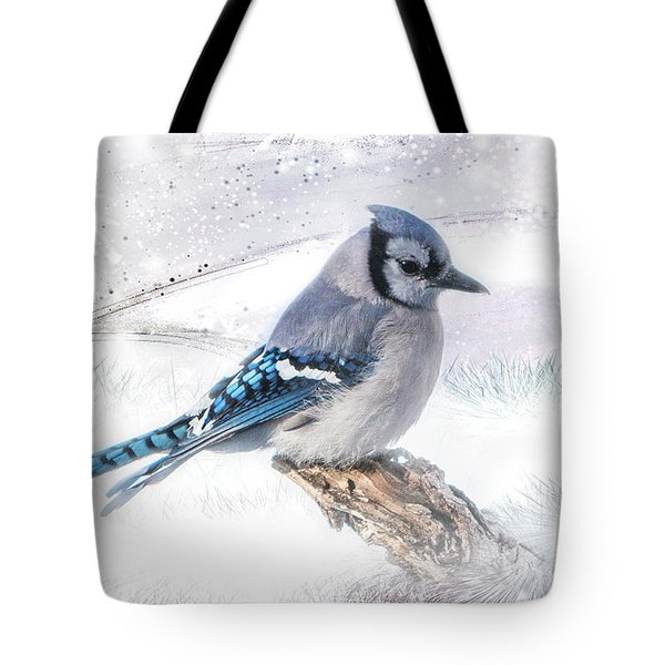 Blue Jay Snow Tote Bag