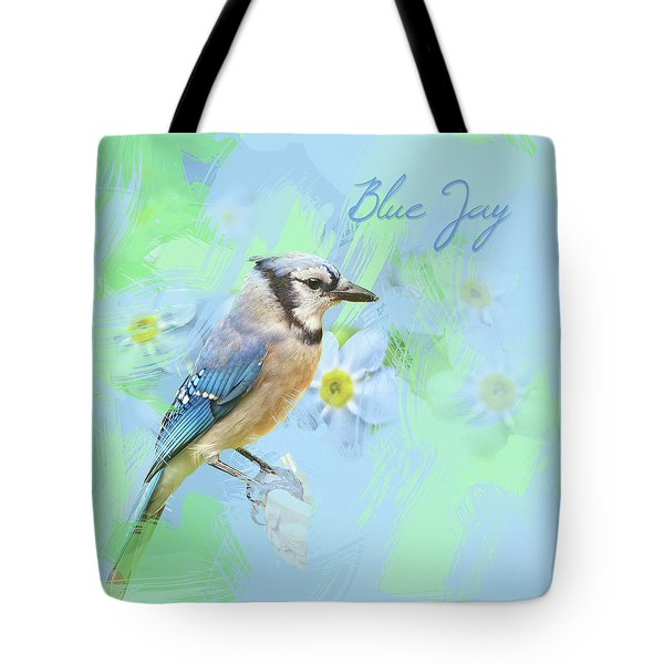 Tote Bag featuring the photograph Blue Jay Watercolor Photo by Heidi Hermes