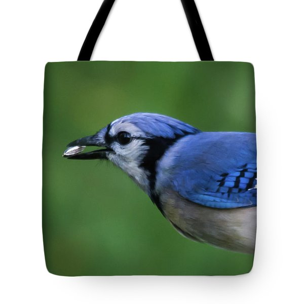 Blue Jay With Seed Tote Bag
